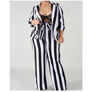 Jackets & Blazers - Pin Up Striped Blazer Set - PLUS SIZE